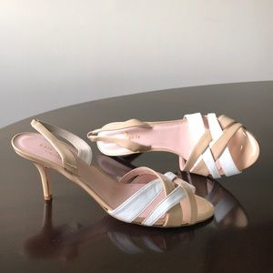 Kate Spade cream & white opentoe 8.5M Kitten Heels
